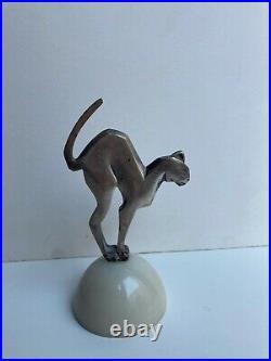 Ancienne statue bronze argenté animalier chat Art Deco style Sandoz socle marbre