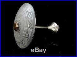 Ancienne suspension lampe Art deco bronze argenté Sabino Hettier Genet Michon