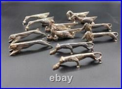 Anciens Porte Couteaux Animaux Metal Argente
