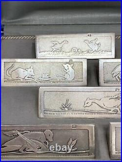 Anciens Portes Couteau Métal Argenté Les Fables De La Fontaine Art Deco Rabier