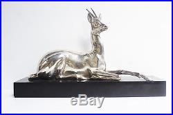 Antilope en bronze argenté signée G. Lavroff