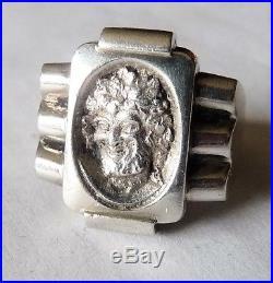 Antique Art Deco Silver Ring Rare Bijou Ancien Bague Tank Argent Massif Bacchus