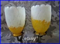 Applique bronze nickelé tulipe pâte de verre DELATTE SCHNEIDER MULLER ART DÉCO