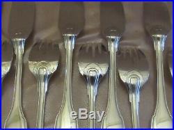 Argent massif service à poisson 16 pièces 8 fourchettes 8 couteaux 956 G minerve