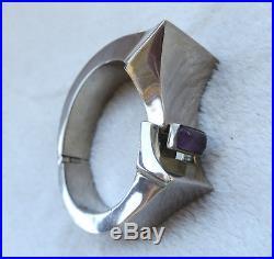 Art Deco Ancien Large Bracelet En Argent Massif