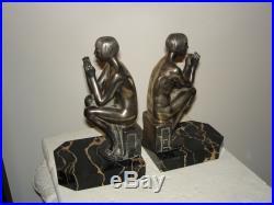 Art Déco Français En Bronze Argenté Serres Livres Nues Par SCRIBE 1930