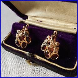 Art Deco Splendides Anciennes Boucles Doreilles Or Rose 14k Argent Grenats