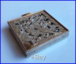 BOUCHERON Paris Poudrier Art Déco 1940 Or Argent Rubis 238 gr