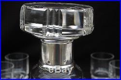 Baccarat Service Porto Rhum Cristal taillé/Argent Art Déco Carafe + 8 verres
