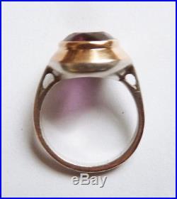 Bague OR massif et argent améthyste Bijou ancien gold ring