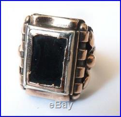 Bague ancienne ARGENT massif + vermeil et onyx bijou Art Deco 1930
