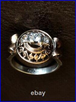 Bague ancienne Art Déco argent et or 18 carats