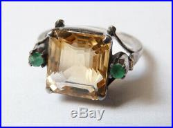 Bague ancienne en ARGENT massif + citrine + émeraude Art Deco silver ring
