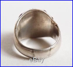 Bague ancienne en ARGENT massif et rubis forme étoile Art Deco silver ring