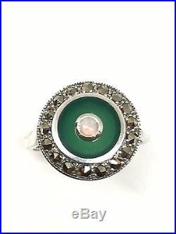 Bague argent 925/1000 style art déco, agate verte et marcassite, taille 56