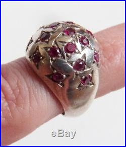 Bague chevalière ARGENT massif et rubis forme dôme étoile Art Deco silver ring