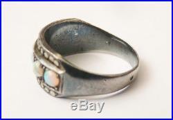 Bague en ARGENT et OPALE opales Bijou ancien silver ring