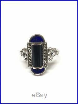 Bague en argent 925/1000 look art déco, onyx lapis lazuli et marcassites
