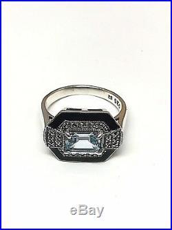 Bague en argent 925/1000 look vintage, topaze bleue et marcassite