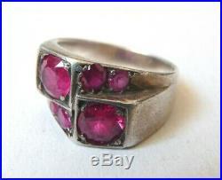 Bague en argent massif + Rubis synthétiques Bijou Art Deco silver ring ruby