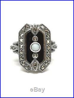 Bague vintage en argent 925/1000 look art déco, onyx, opale et marcassites