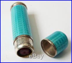 Baton rouge à lèvres ARGENT massif email Art Deco miroir enamel silver lipstick