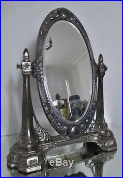 Beau miroir psyché ART DÉCO en métal argenté vers 1925 glace biseautée