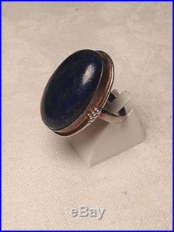 Belle Bague Ovale Argent Et Lapis Lazuli 1930