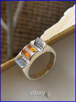 Belle Bague Tank Ancienne Art Deco Argent Topaze Antique Vintage Silver Ring