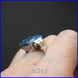 Belle bague ancienne argent et pierre bleue (topaze) époque art déco
