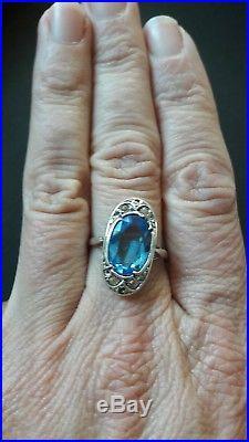 Belle bague ancienne argent, pierres blanches et pierre bleue, époque art déco