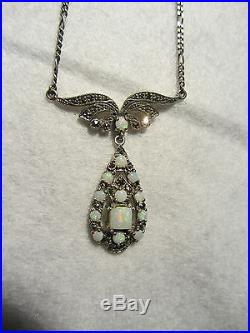 Bijoux Pendentif Art Deco Opale Argent Marcassites