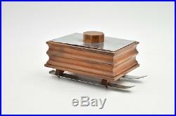 Boite à cigares art deco sur ski métal argenté cigar box 1940