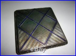 Boite émaillée bleu cartes/étui à cigarettes en argent période art déco TBE++++