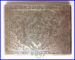 Boite étui à cigarettes argent massif ciselé Ancien vers 1920 silver box 100 g
