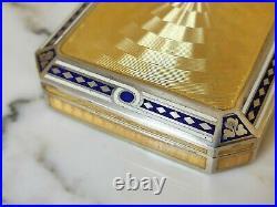Boite tabatière argent vermeil guilloché & émaillé art déco c1920. Autriche