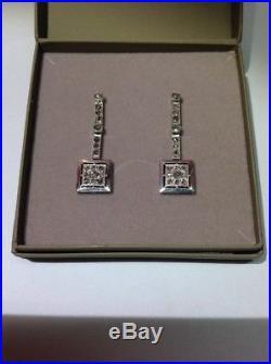 Boucles D'oreilles Art Déco Argent et Diamants