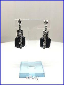 Boucles d'oreilles art déco en argent 925, onyx et marcassites