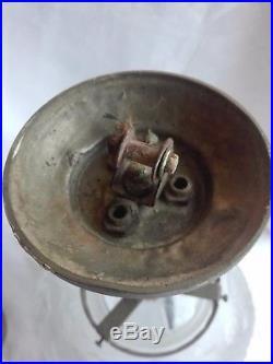 Boule lustre suspension pâte de verre Muller et bronze argenté signée Art déco