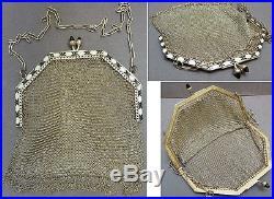 Bourse cote de maille ARGENT massif émail ENAMEL silver bag ART DECO 77 gr