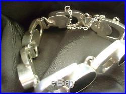 Br237 Tres Beau Bracelet Taxco Mexico Ancien Art Deco. Avec Des Onyx Argent 925