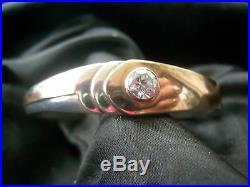Br256 Beau Bracelet Ancien Art Deco Avec Un Zircon Argent 925 Et Cuivre