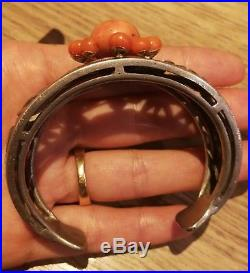 Bracelet Ancien Art Déco Ou Art Nouveau En Argent Et Or massif Et Corail
