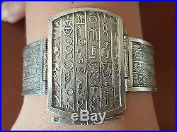 Bracelet Art Déco, Argent, Cartouche Hiéroglyphe, Poinçon Egyptien, Années 30