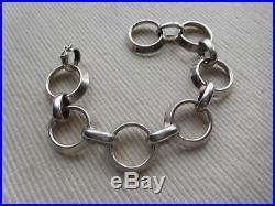 Bracelet En Argent Massif Ancien Art Deco Poincon Du Crabe 18.50 Cms 43 Grs B133