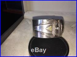 Bracelet Manchette Art Deco Argent Massif + Or 14 Carats