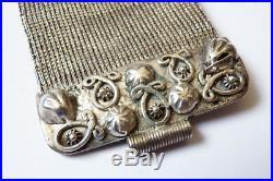 Bracelet ancien argent massif + turquoise + corail + lapis silver ethnique