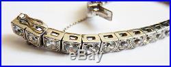 Bracelet rivière en or massif blanc + argent + pierres Bijou ART DECO gold