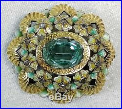 Broche Art Déco. Diamants. Aquamarine. Argent Plaqué En Or. Espagne. Circa 1920