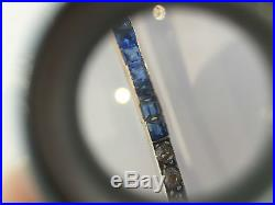 Broche ancienne Art Déco or jaune 18 k argent Saphirs et Diamants